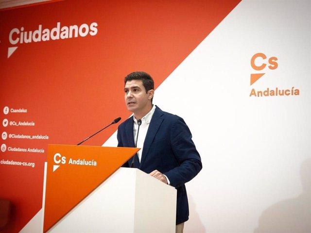 Sergio Romero, portavoz parlamentario de Cs, en rueda de prensa