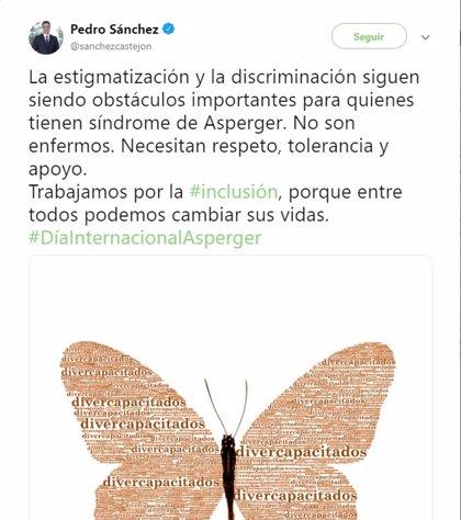 """Sánchez dice que los pacientes con síndrome de Asperger """"no son enfermos"""" y lamenta la estigmatización y discriminación"""