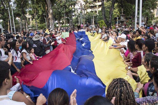 Manifestación conta el Gobierno de Nicolás Maduro en Venezuela
