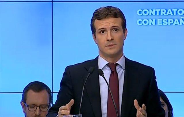 Pablo Casado interviene ante la Junta Directiva Nacional del PP