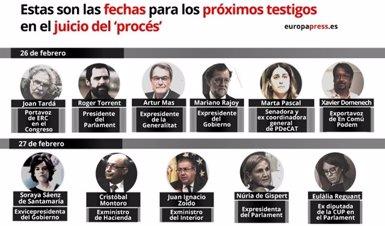 Rajoy declararà com a testimoni en el judici el 26 de febrer i Sáenz de Santamaría i Montoro, l'endemà (EUROPA PRESS)