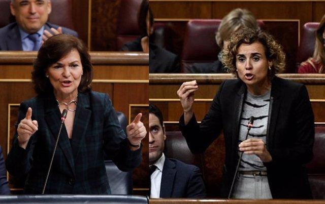 """Fotomontaje """"cara a cara"""" de Carmen Calvo y Dolors Montserrat"""