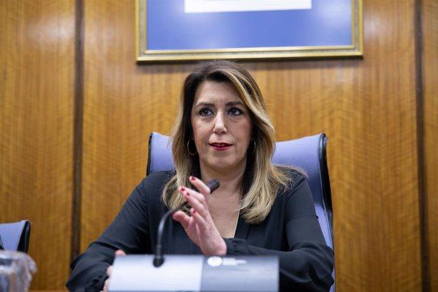 Susana Díaz, interviene en la reunión del Grupo Parlamentario Socialista