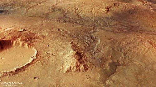 Una red de valles de ríos secos en el norte de Marte