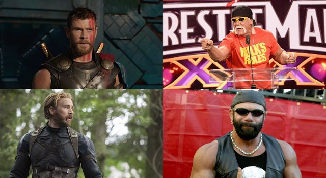Chris Hemsworth, Hulk Hogan, Chris Evans y Randy Savage