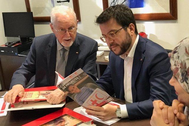 El vicepresident del Govern catal, Pere Aragons, en la visita a la seu de la C