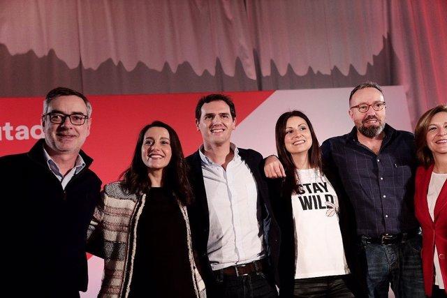 El president de Ciutadans, Albert Rivera, amb la líder a Catalunya a la seva dre