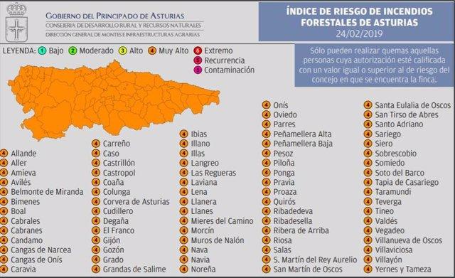 Toda Asturias en riesgo 'muy alto' de incendios forestales este domingo