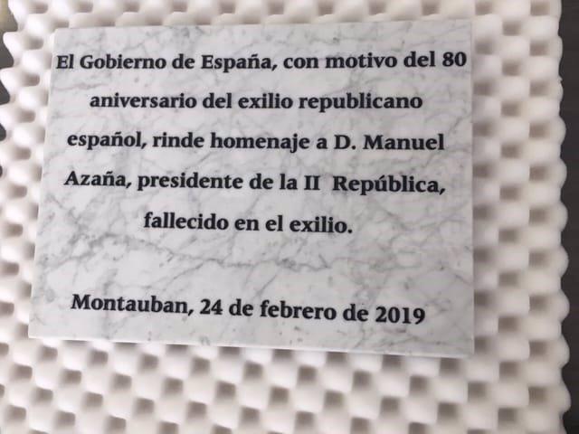Placa commemorativa a Manuel Azaña