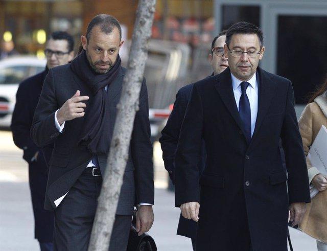 Josep Maria Bartomeu i Sandro Rosell arriben a l'Audincia Nacional
