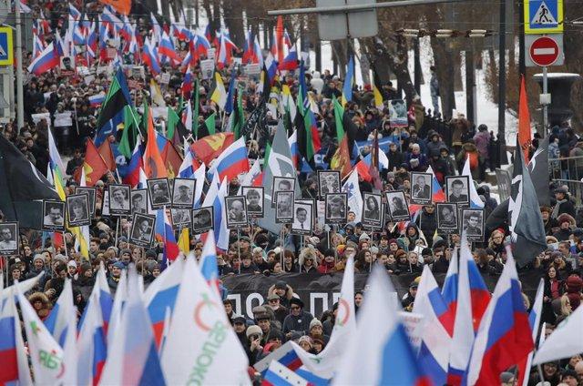 Manifestación en el aniversario del asesinato del opositor Boris Nemtsov