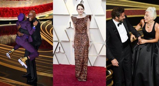 Emma Stone, Spike Lee, Samuel L Jackson, Lady Gaga y Bradley Cooper en los Oscar