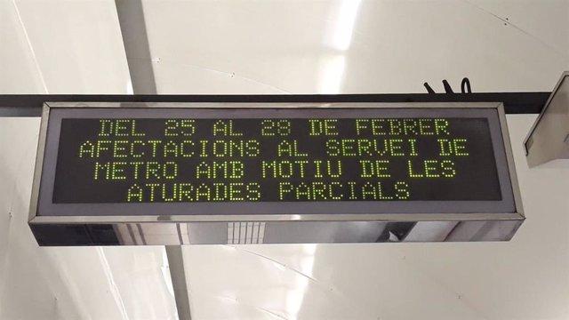 MWC.- La vaga del Metre de Barcelona registra un seguiment del % a primera h