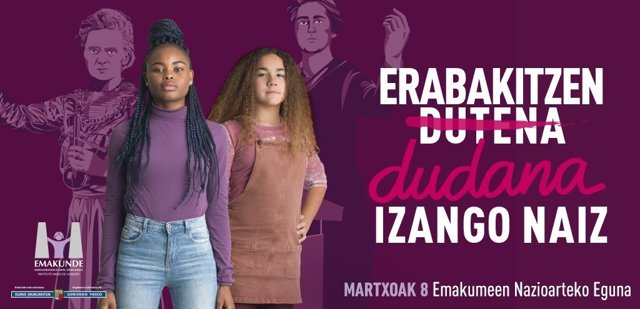 Emakunde centra la campaña del 8 de marzo en el empoderamiento de mujeres y niña