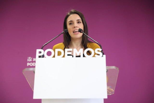 Declaracions de la portaveu d'Units Podem al Congrés, Irene Montero