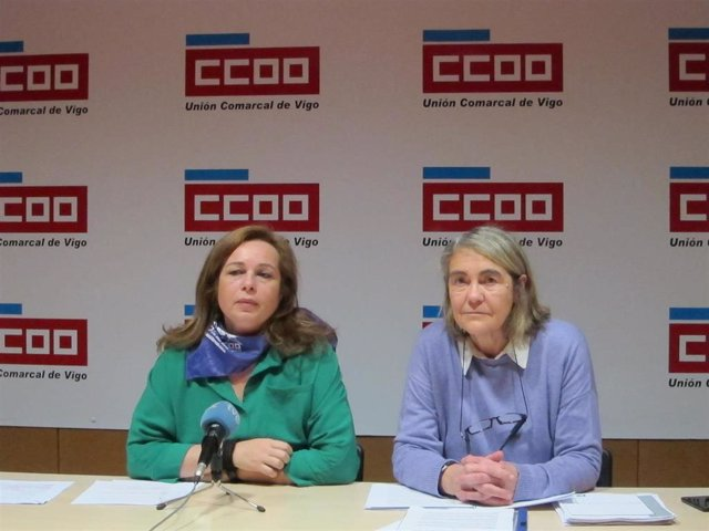 La secretaria de Muller e Igualdade en CCOO Galicia y su homóloga en Vigo