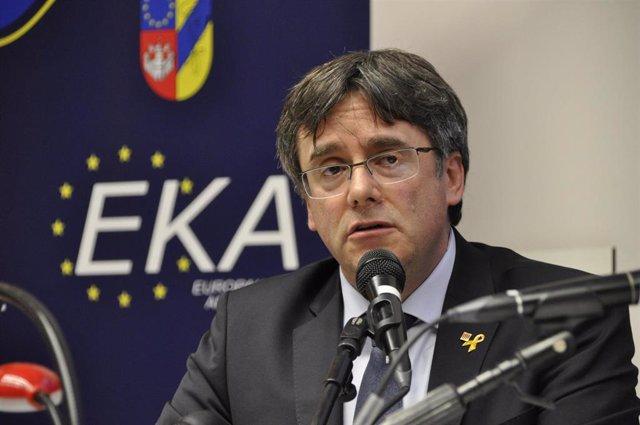 Carles Puigdemont speaks at the University of Antwerp in Belgium