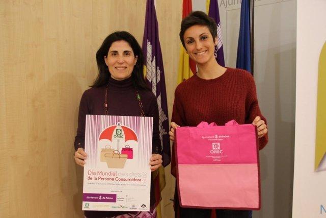 Regidora de Sanitat, Antònia Martín, i directora general de Fires, Griselda Ses