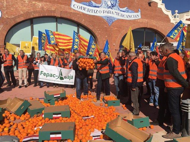 """Los agricultores protestan contra la """"inaceptable"""" importación de naranjas navel"""