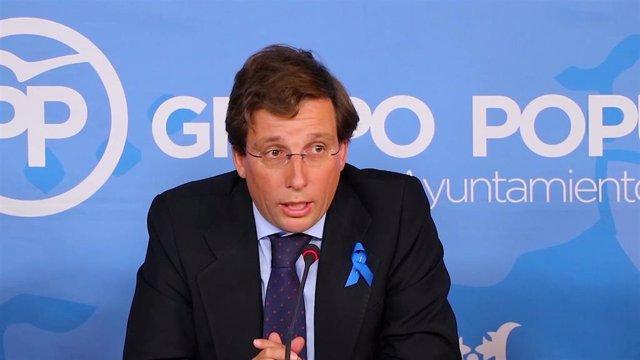 José Luis Martínez-Almeida, portavoz del PP de Madrid, en rueda de prensa