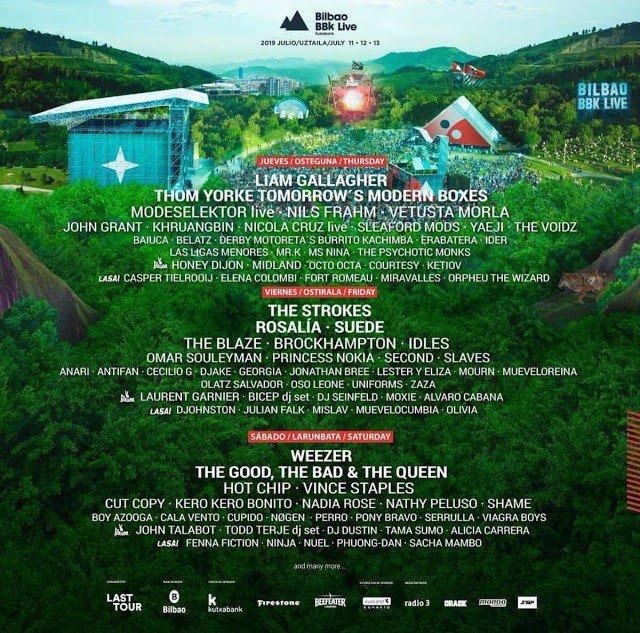Bilbao BBK Live 2019 desvela su cartel por días e incorpora a Liam Gallagher y T