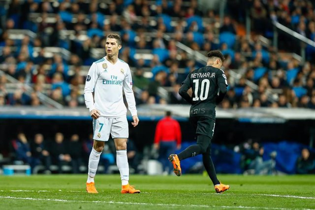Cristiano Ronaldo of Real Madrid and Neymar of PSG during the Champions League m