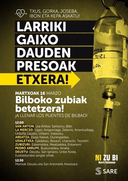 Convocan concentraciones en todos los puentes de Bilbao para pedir la libertad de los presos de ETA enfermos