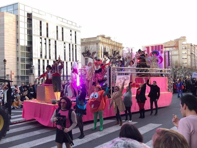 Una parte del desfile de Carnaval 2019, en Logroño