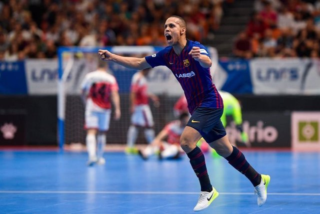 Ferrao celebra un gol con el Barça Lassa