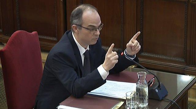 Imagen de archivo del interrogatorio a Jordi Turull en el juicio por el 'procés'