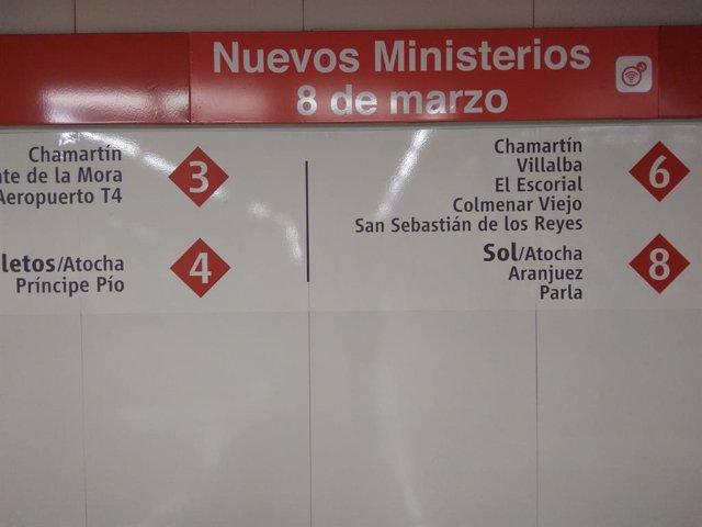 Renfe añade '8 de marzo' al nombre de la estación de Nuevos Ministerios