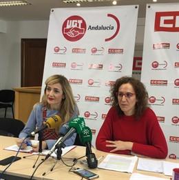 Carmen Castilla (UGT-A) y Nuria López (CCOO-A), en una imagen de archivo