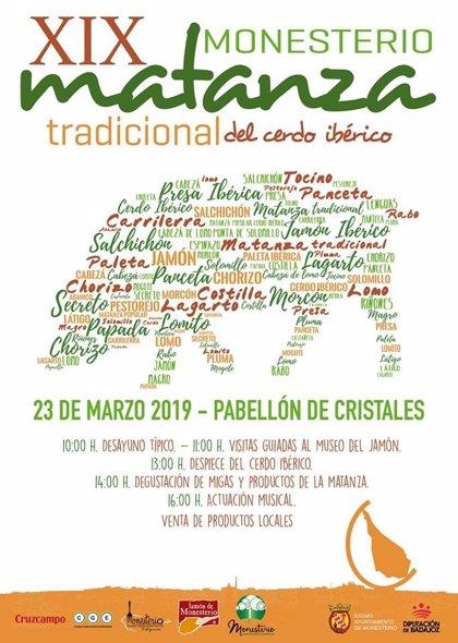 La XIX Matanza Didáctica de Cerdo de Monesterio (Badajoz) se celebrará el próximo 23 de marzo