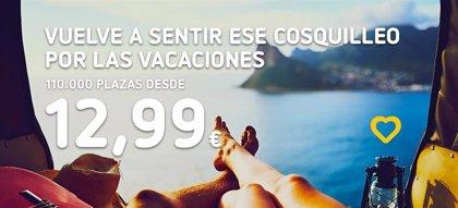 Vueling pone a la venta 110.000 plazas a partir 12,99 euros para volar desde abril