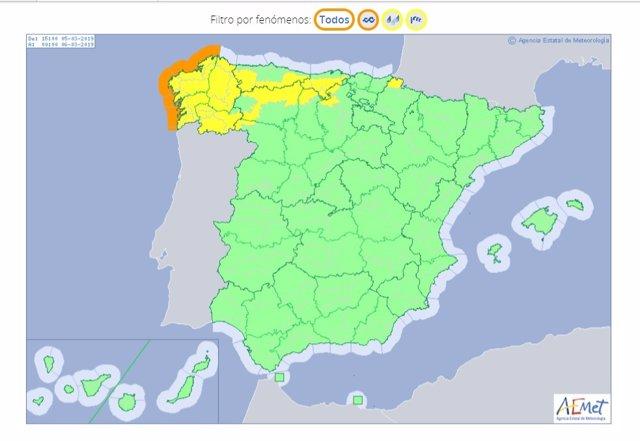 Activado el aviso naranja en todo el litoral gallego