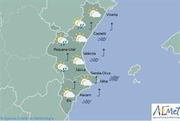 Lluvias débiles este miércoles y máximas en ascenso este miércoles en la Comunit