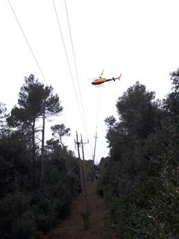 Endesa reforma una línia elctrica al parc de Sant Lloren del Munt i l'Oba