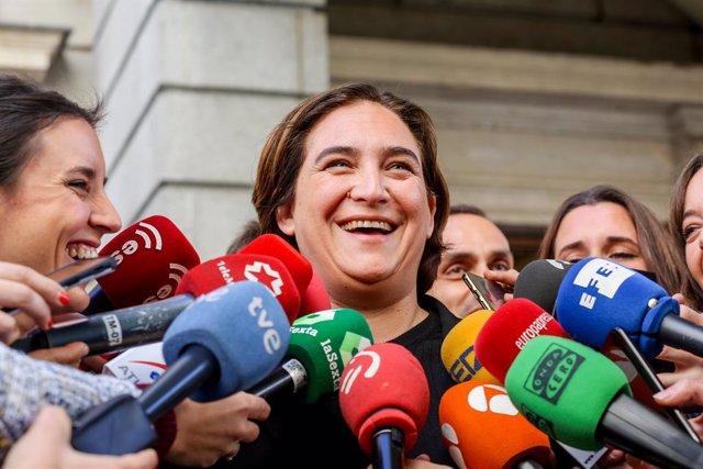 Roda de premsa d'Irene Montero i Ada Colau al Congrés dels Diputats