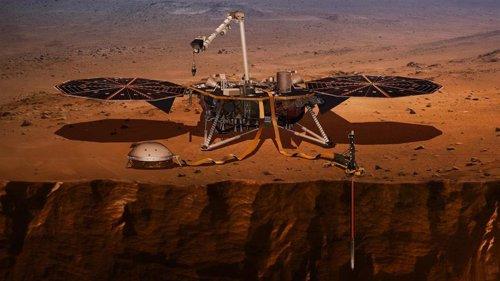 El perforador de InSight en Marte, en reposo por un obstáculo