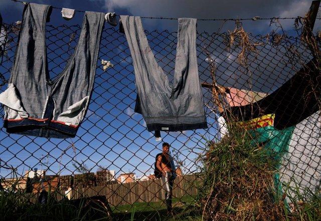 Campamento de migrantes venezolanos en Bogotá