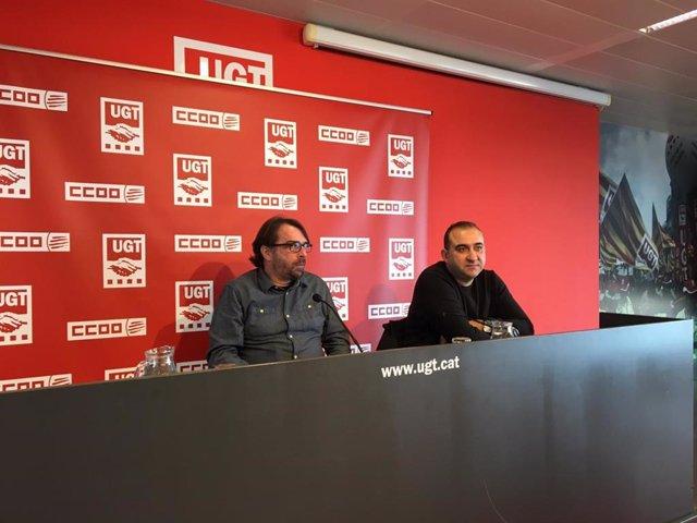 Camil Ros (UGT) y Javier Pacheco (CC.OO.), en rueda de prensa este miércoles