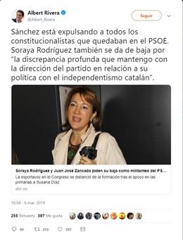 "Rivera, sobre la baja de Soraya Rodríguez del PSOE, cree que Sánchez ""está expul"