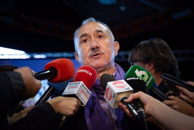Roda de premsa d'UGT en l'assemblea prvia a la vaga del 8M a Barcelona