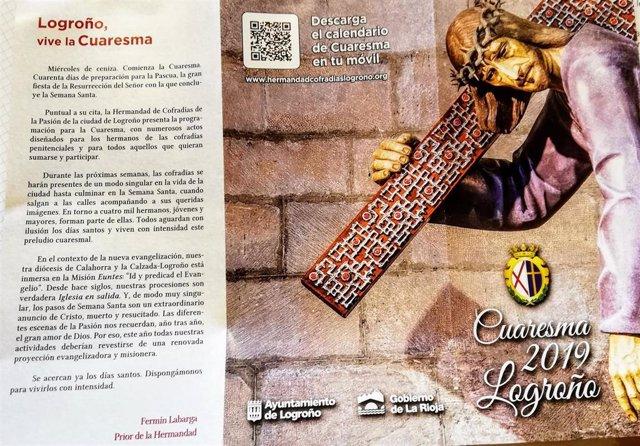 El programa de la Cuaresma 2019 en Logroño incluye casi 30 actividades tanto rel