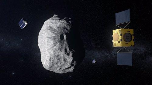 Recreación de la misión Hera ante el asteroide Didymoon