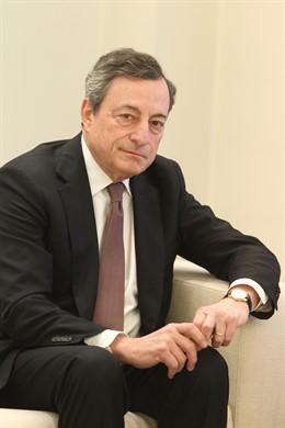 Reunión de Pedro Sánchez con el presidente del Banco Central Europeo, Mario Drag