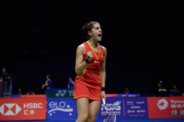 Carolina Marín, durant el Campionat del Món de bàdminton