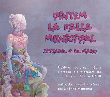 Los artistas PichiAvo llenan de color la falla del Ayuntamiento con una pintada colectiva este sábado