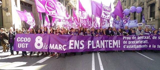 8M.- UGT I CC.OO. De Catalunya Es Manifesta A Barcelona Contra La Bretxa Tasca