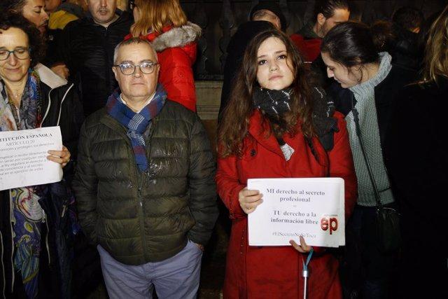 Concentració en suport als periodistes d'Europa Press i el Diari de Mallorca